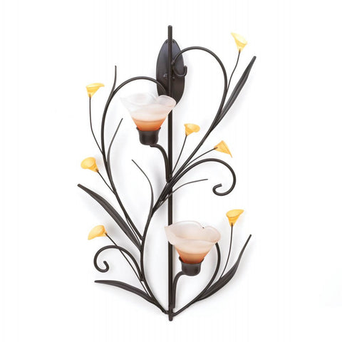 Amber Lilies Candle Wall Sconce - Mile High Bazaar