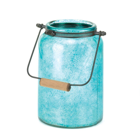 Blue Jar Candle Lantern - Mile High Bazaar