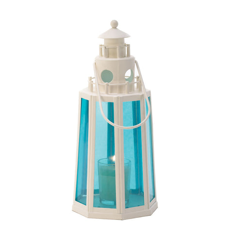 Blue And White Lighthouse Candle Lantern - Mile High Bazaar
