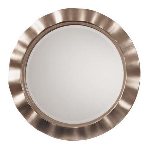 Cosmos Beveled Wall Mirror with Brushed Silver Round Wavy Frame - Mile High Bazaar