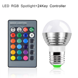Multicolor Changeable RGB LED Night Light 85V- 265V Bulb With IR Remote Controller