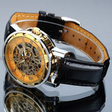 Vintage Luxury Skeleton Mechanical Hand Wind Full Steel Watch
