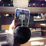 Luxury Metal Rope Mirror Tassel phone Capa fake rabbit fur ball For iPhones (FREE plus Shipping)