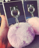 Luxury Metal Rope Mirror Tassel phone Capa fake rabbit fur ball For iPhones