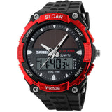 Men Sports SOLAR POWER LED Digital Quartz Military Watches.