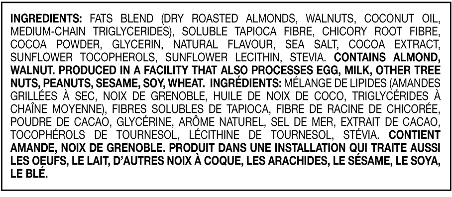 Chocolatey Almond Nut Bar Ingredients