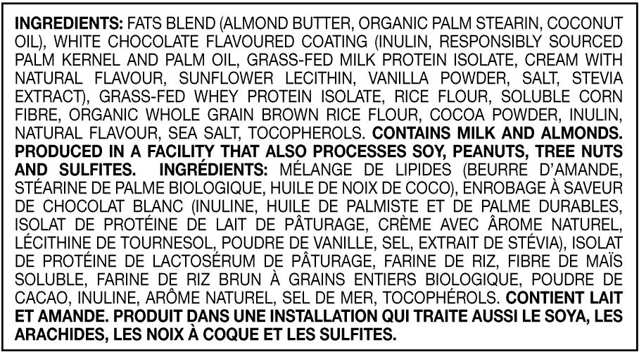 Cookies and Cream Fat Bar ingredients