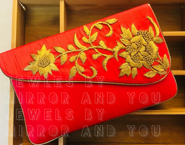 Red party flap clutch with chain