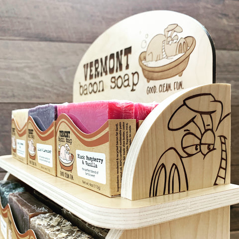 VT Bacon Soap Retail Display for Wholesale customers