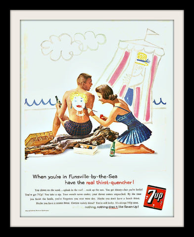 "1960 7UP Soda Pop Ad ""Beach Painting""-Original-Stills Of Time"