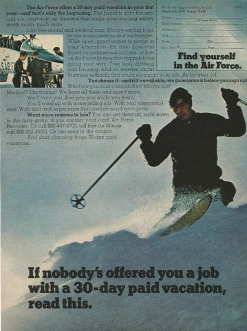 "1973 Air Force US Military Recruitment Ad ""Vacation: Ski""-Original-Stills Of Time"