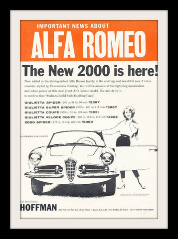 "1960 Alfa Romeo Giulietta Spider Car Ad ""News""-Original-Stills Of Time"