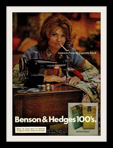 "1974 Benson & Hedges Cigarette Ad ""Sewing""-Original-Stills Of Time"