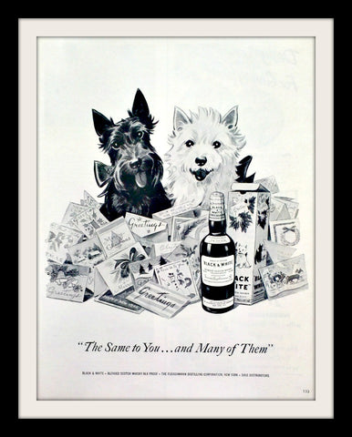 "1954 Black & White Scotch Ad ""Holiday Greetings""-Original-Stills Of Time"