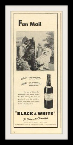 "1946 Black & White Scotch Ad ""Dogs: Fan Mail""-Original-Stills Of Time"
