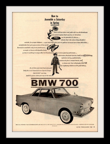 "1960 BMW 700 Car Art Ad ""Spring""-Original-Stills Of Time"