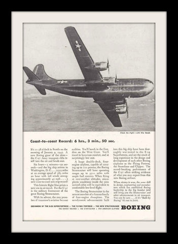 "1945 Boeing C-97 Aircraft Ad ""Finish The Fight""-Original-Stills Of Time"