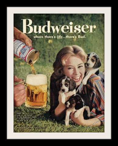"1960 Budweiser Beer Ad ""Beagle Puppies""-Original-Stills Of Time"