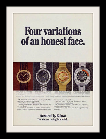 "1971 Bulova Accutron Watch Ad ""Honest Face""-Original-Stills Of Time"