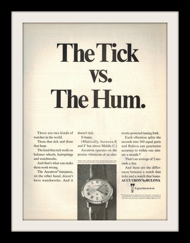 "1968 Bulova Accutron Watch Ad ""Hum""-Original-Stills Of Time"