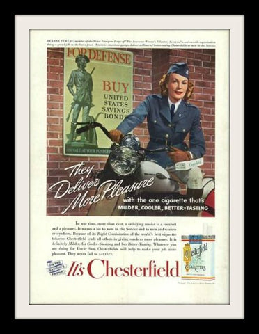 "1942 Chesterfield WWII Cigarette Ad ""Harley Motorcycle""-Original-Stills Of Time"