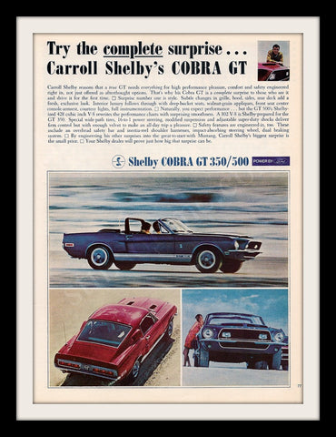 "1968 Shelby Cobra Car Ad ""Surprise""-Original-Stills Of Time"