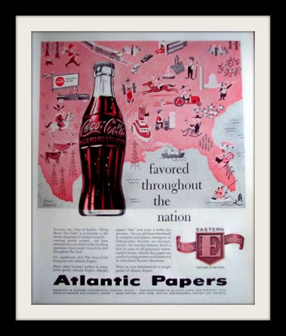 "1957 Atlantic Papers Ad ""USA Map: Coca Cola""-Original-Stills Of Time"