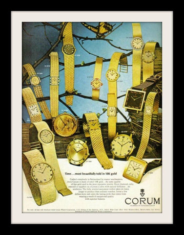 "1971 Corum Gold Watch Ad ""Beautifully""-Original-Stills Of Time"