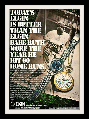 "1971 Elgin Watch Ad ""Babe Ruth""-Original-Stills Of Time"