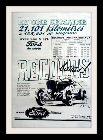 "1933 Ford Roadster Car Ad ""Racing Records""-Original-Stills Of Time"
