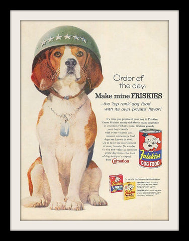 "1960 Friskies Dog Food Ad ""Army: Beagle""-Original-Stills Of Time"