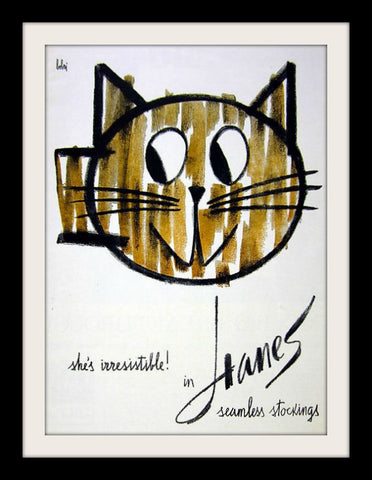 "1960 Hanes Pantyhose Ad ""Bobri: Cat""-Original-Stills Of Time"