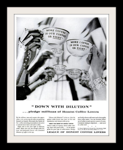 "1960 League of Honest Coffee Lovers Ad ""Fight""-Original-Stills Of Time"
