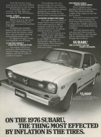 "1976 Subaru Sedan Car Ad ""Inflation""-Original-Stills Of Time"