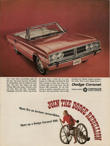 1966 Dodge Coronet Convertible Car Ad-Original-Stills Of Time
