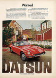 "1972 DATSUN 240-Z Red Car Ad ""Wanted""-Original-Stills Of Time"