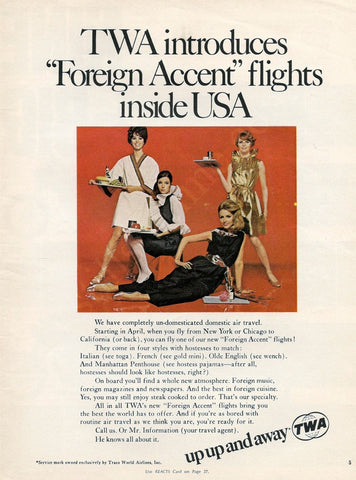 "1968 TWA Airlines Ad ""Foreign Accent Stewardess""-Original-Stills Of Time"