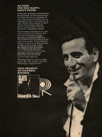 "1964 Tony Bennett Music Ad ""Many Moods""-Original-Stills Of Time"