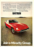 "1971 DATSUN 240-Z Red Car Ad ""Minority Group""-Original-Stills Of Time"