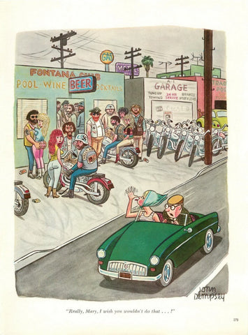 "1966 MG Car & Motorcycle Art Cartoon ""Hells Angels By John Dempsey""-Original-Stills Of Time"