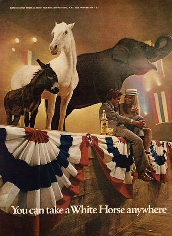 "1972 White Horse Scotch Ad ""Political""-Original-Stills Of Time"