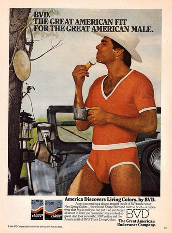 "1980 BVD Underwear Ad ""Shaving Cowboy & Jeep""-Original-Stills Of Time"