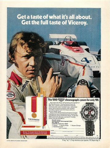 "1972 Viceroy Cigarette Ad ""Heuer Chronograph Watch""-Original-Stills Of Time"