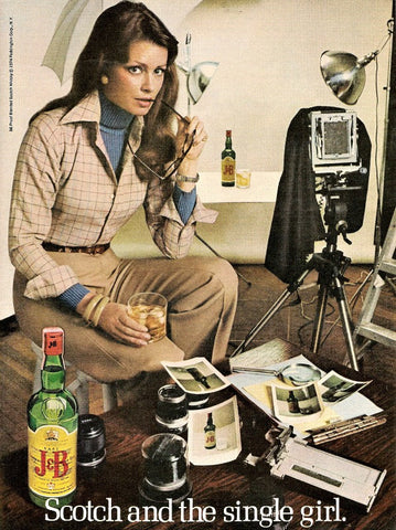 "1974 J&B Scotch Ad ""Single Girl: Photographer""-Original-Stills Of Time"