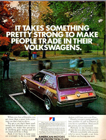 "1972 Gremlin Purple Car Ad ""Volkswagen""-Original-Stills Of Time"