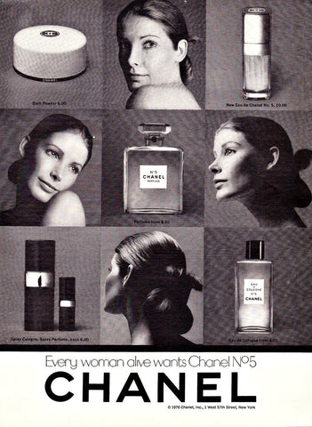 "1970 Chanel No. 5 Perfume Ad ""Collage""-Original-Stills Of Time"