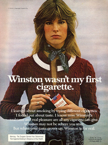 "1975 Winston Cigarette Ad ""Brunette""-Original-Stills Of Time"