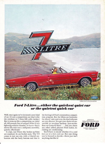 "1966 FORD Galaxie Red Car Ad ""7 Litre""-Original-Stills Of Time"