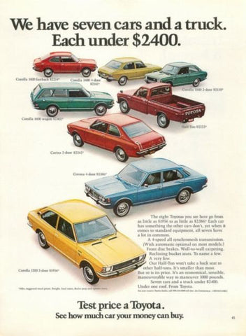 1972 Toyota Truck & Car Ad-Original-Stills Of Time