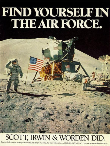 "1971 Air Force US Military Recruitment Ad ""NASA: Moon Landing""-Original-Stills Of Time"